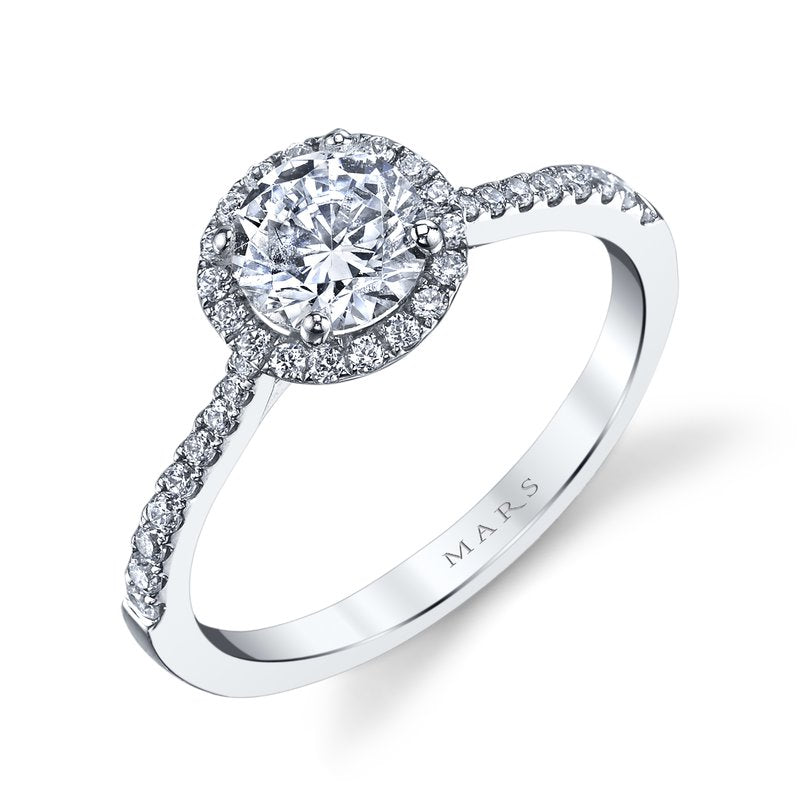 Mars Bridal Jewelry 14K White Gold Engagement Ring w/ Straight Diamond Shank & Classic Halo 25391