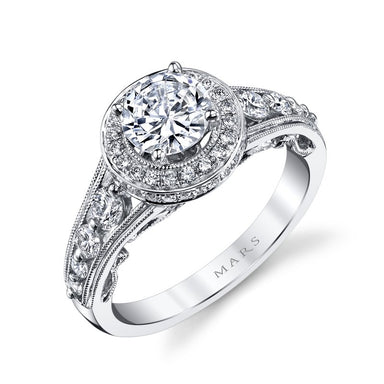 Mars Bridal Jewelry 14K White Gold Engagement Ring w/ Scrollwork & Milgrain Detailing, Peek-A-Boo Diamond Accents 25856