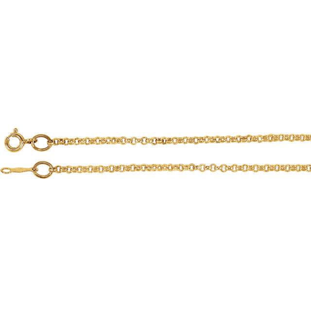 14K Gold 2mm Rolo Chain with Spring Ring Closure