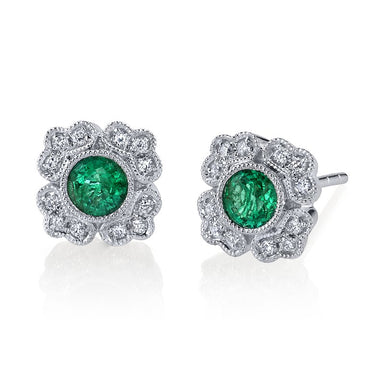 Mars Jewelry 14K White Gold Antique Inspired Stud Earrings w/ Emerald Accents 26880
