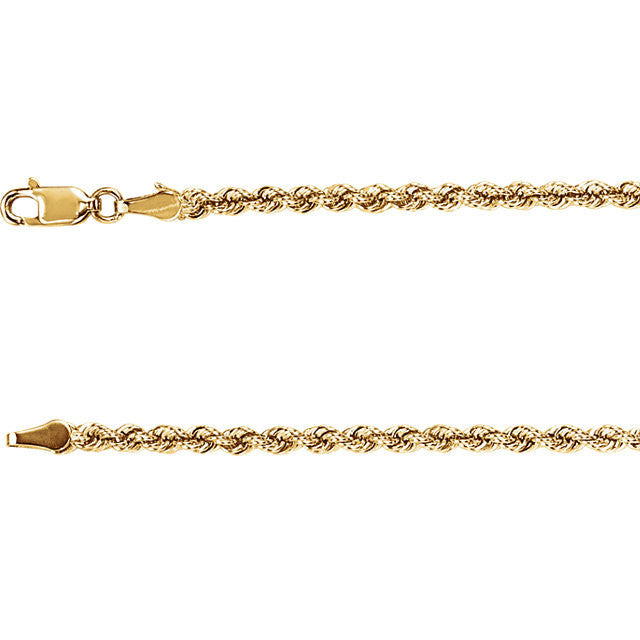14K Gold 3mm Rope Chain with Lobster Closure