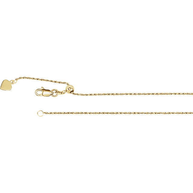14K Gold 1mm Adjustable Rope Chain with Lobster Closure