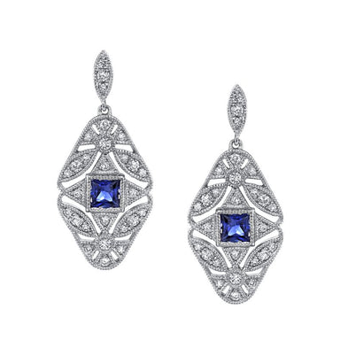 Mars Jewelry 14K White Gold Antique Inspired Drop Earrings w/ Sapphire Accents 26877