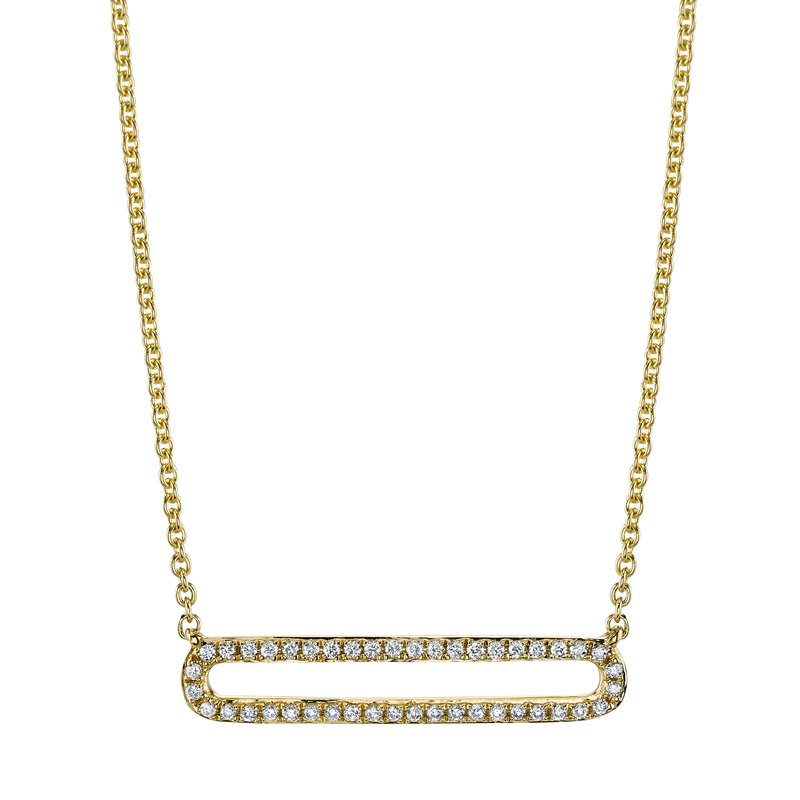 Mars Jewelry 14K Yellow Gold Fashion Necklace w/ Pave Diamonds & Brushed Gold 26822