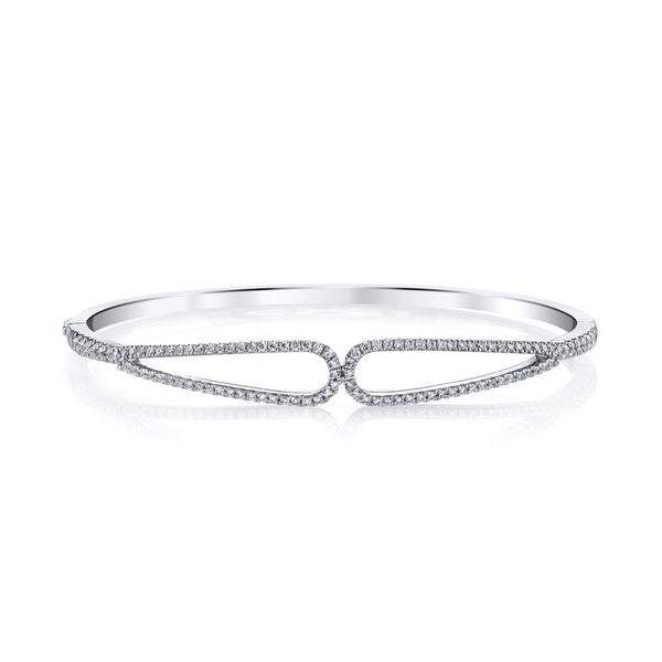 Mars Jewelry 14K White Gold Bangle Bracelet w/ Diamonds 26722