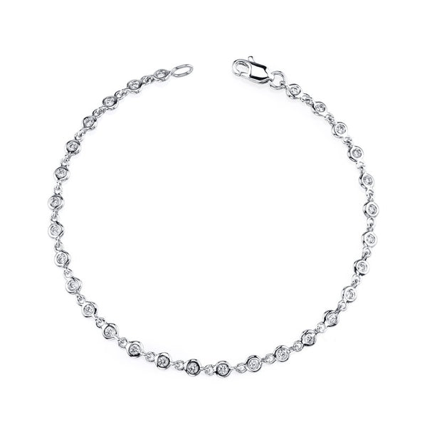 Mars Jewelry 14K White Gold Fashion Bracelet w/ Bezel Set Diamonds 26726
