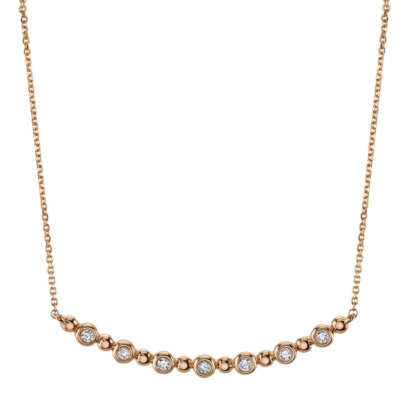 Mars Jewelry 14K Rose Gold Fashion Necklace w/ Bezel Set Diamonds 26818