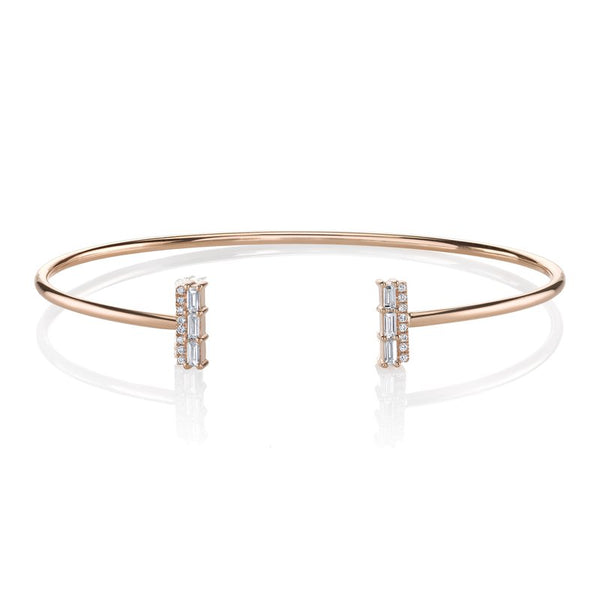 Mars Jewelry 14K Rose Gold Bangle Bracelet w/ Diamond Baguette Accents 26813