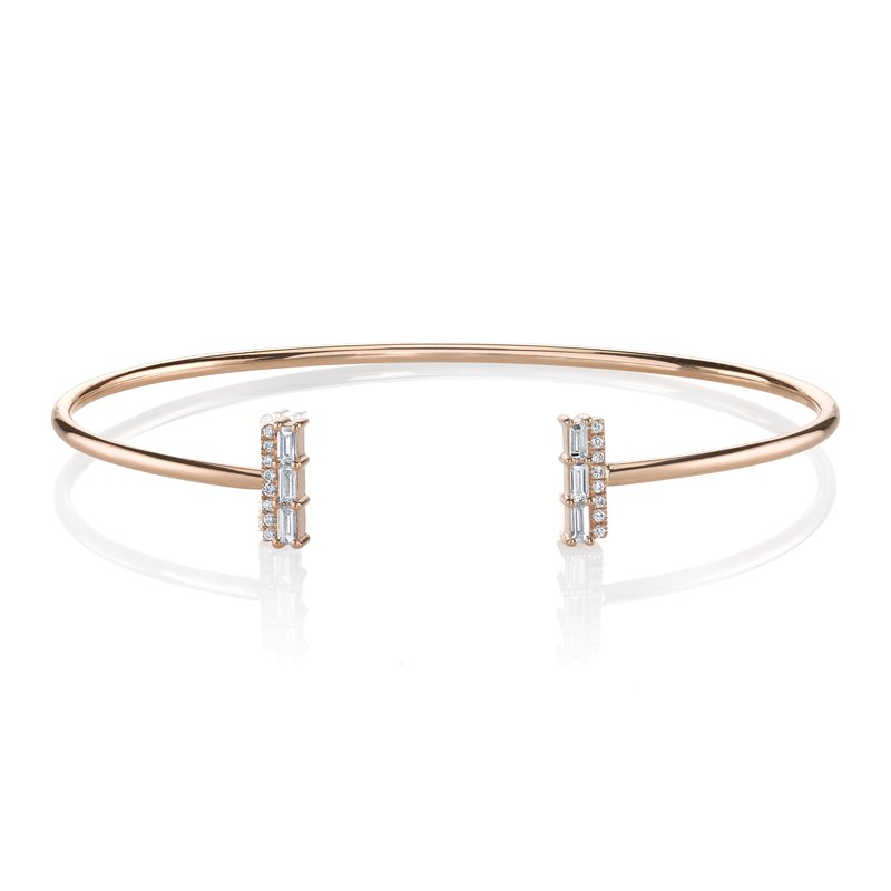 e6b60bdc34d19 Mars Jewelry 14K Rose Gold Bangle Bracelet w/ Diamond Baguette Accents 26813