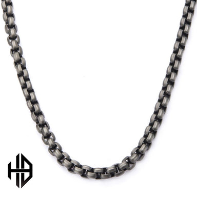 Inox Jewelry Hollis Bahringer Black IP Gun Metal Polished Bold Box & Fox Tail Chain Necklace HBNSTC1259