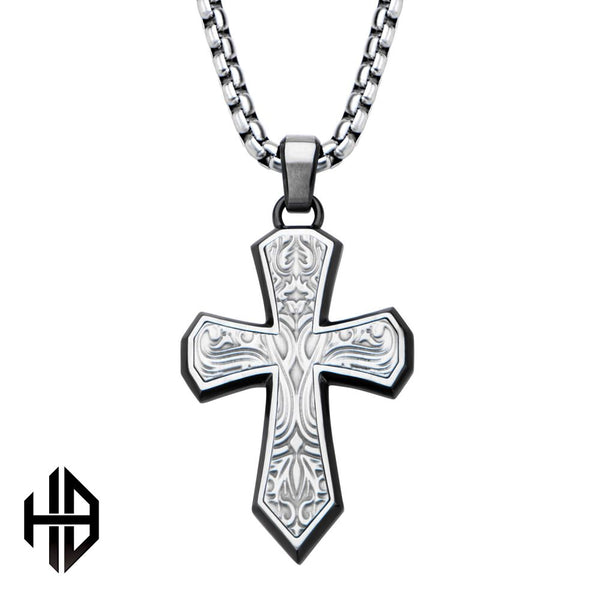 Inox Jewelry Hollis Bahringer Black IP Stainless Steel Texture Cross Pendant w/ Chain HBSSP1503CRNK1