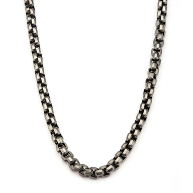 Inox Jewelry Steel Gun Metal IP Round Box Chain Necklace NSTC0128GM-24