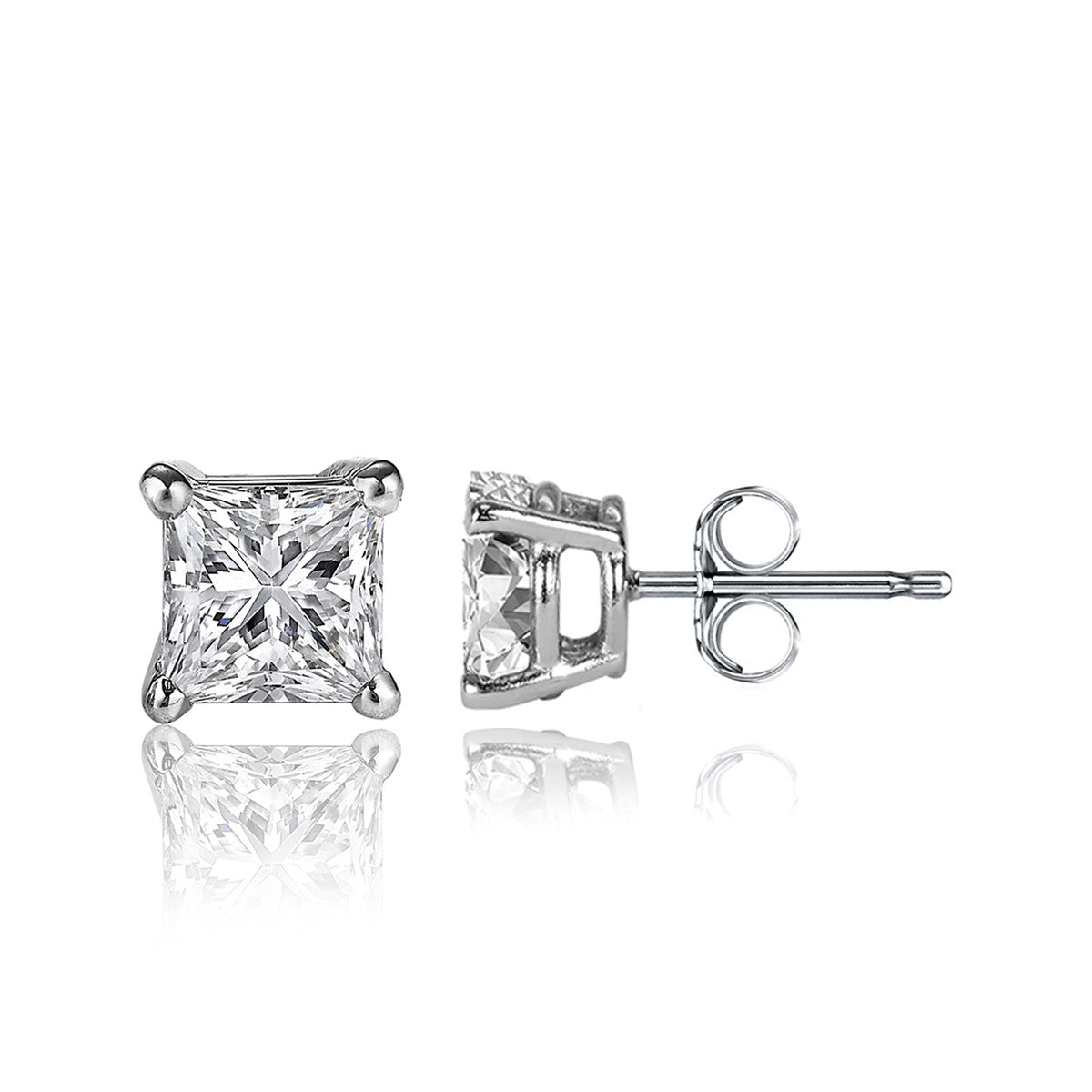 1 Carat Princess Cut 14k White Gold 4 Prong Basket Set Diamond Solitaire Stud Earrings (Signature Quality)
