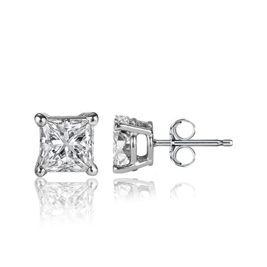 1/2 Carat Princess Cut 14k White Gold 4 Prong Basket Set Diamond Solitaire Stud Earrings (Classic Quality)