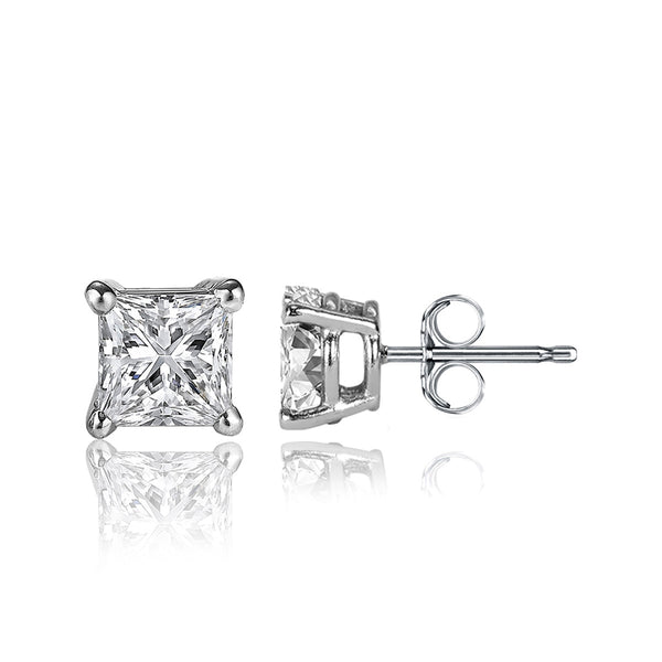 1 Carat Princess Cut 14K White Gold 4 Prong Basket Set Diamond Solitaire Stud Earrings (Classic Quality)