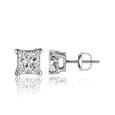 1/4 Carat Princess Cut 14k White Gold 4 Prong Basket Set Diamond Solitaire Stud Earrings (Premium Quality)