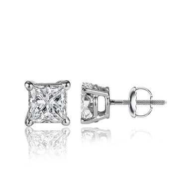 1/4 Carat Princess Cut 14k White Gold 4 Prong Basket Set Diamond Solitaire Stud Earrings (Classic Quality)