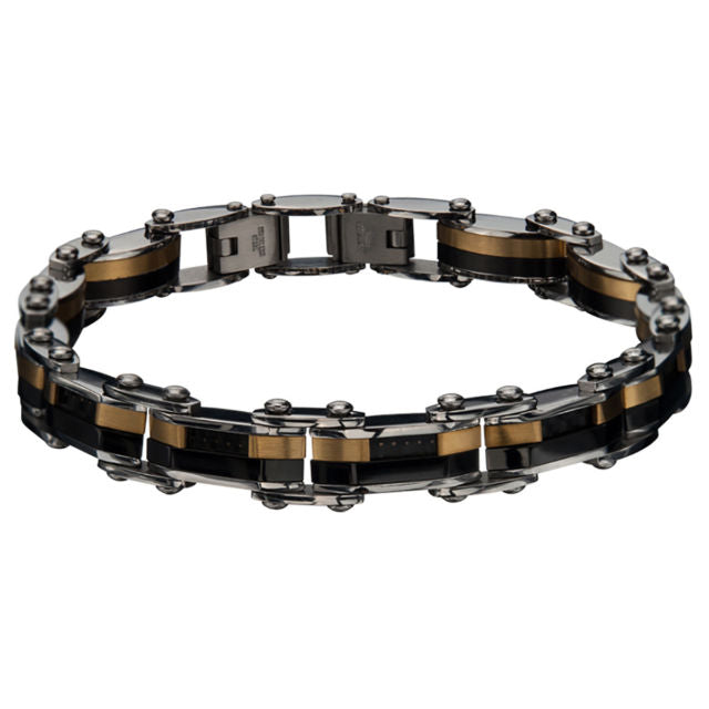 "Inox Jewelry Double Sided Steel, Plated Gold and Black 8"" Bracelet BRDS4"