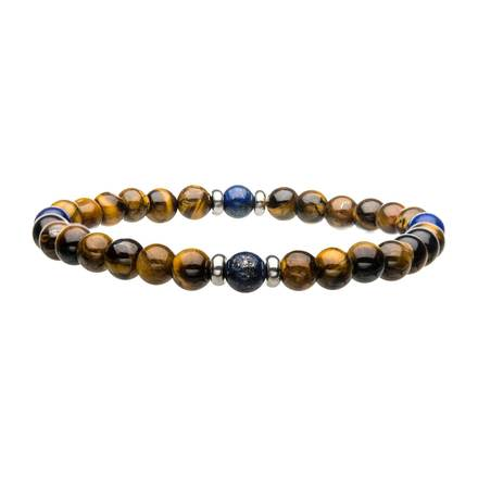 "Inox Jewelry 6mm Stainless Steel, Blue Coral & Tiger Eye 8"" Bead Bracelet BRSS002"