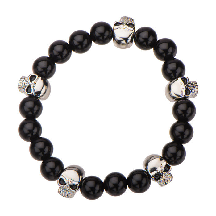 "Inox Jewelry 8mm Skull & Polished Black Onyx 8.5"" Bead Bracelet BRBD103"