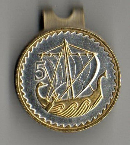 "Ball Markers - Cyprus 5 Mils ""Gold & Silver Viking Ship"" (quarter Size)"