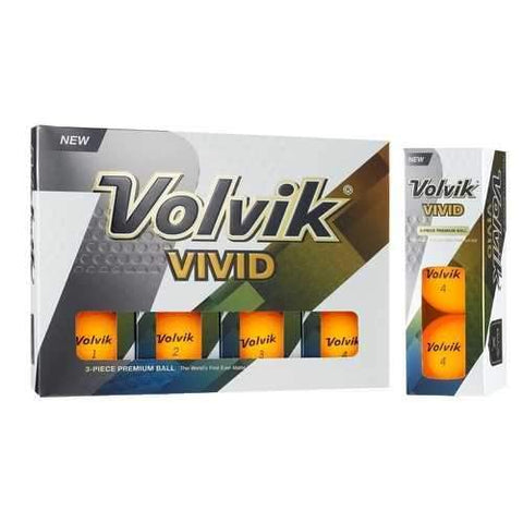 Golf Clubs & Equipment - Volvik Vivid 3 Pc Golf Balls - Matte Orange