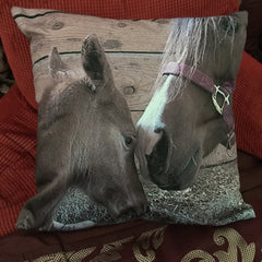 Mare and foal equine decorator throw pillow horse lover gift