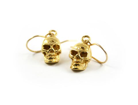 Gold skull earrings, gothic earrings by RBZ Jewelry
