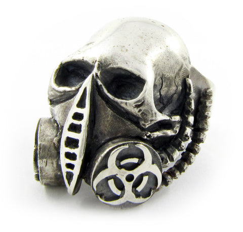 Sterling silver Biohazard gas mask skull ring by RBZ Jewelry