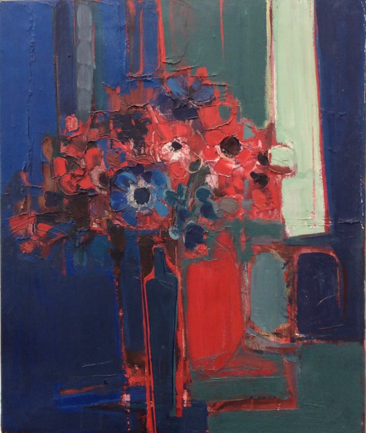 Red Flowers - Oil Painting - Ron King