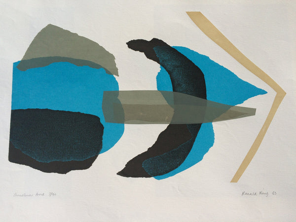 Ron King Studio - Christmas Bird silk screen print 1963