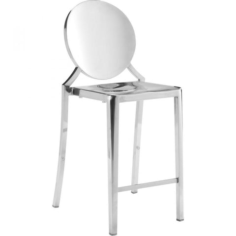 "Set of 2 Zuo Eclipse 24"" Counter Chair, Stainless Steel - Bar Stool Co."