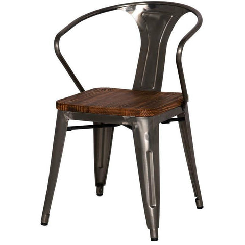 New Pacific Direct Metropolis Metal Arm Chair Wood Seat (Set of 4) - Bar Stool Co.