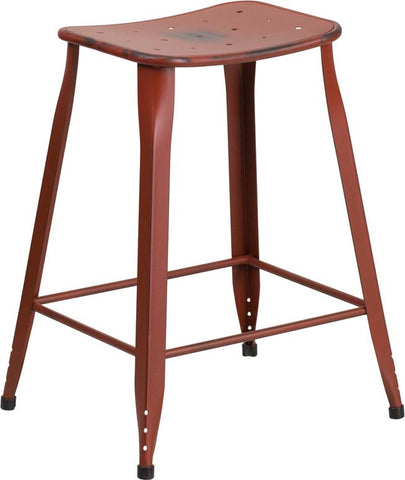 "24"" Distressed Metal Indoor-Outdoor Saddle Counter Stool"
