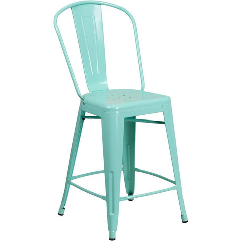 24 Metal Indoor Outdoor Counter Stool With Back Bar Stool Co