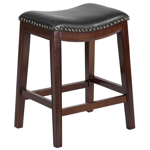 "26"" Backless Wood Counter Stool with Leather Seat - Bar Stool Co."