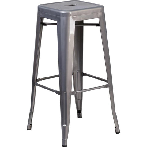 "30"" Backless Metal Barstool with Square Seat"