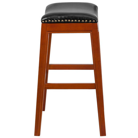 30  Backless Wood Bar Stool with Leather Seat - Bar Stool ...  sc 1 st  Bar Stool Co. - Shopify & 30