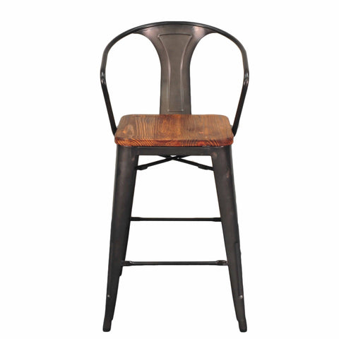 Set Of 4 Tolix 26 Counter Stools With Back Wood Seat Bar Stool Co