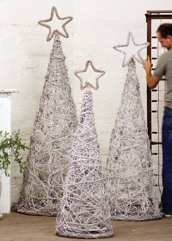 Kalalou Set of 3 Whitewash Giant Iron and Twig Topiaries with Star Finials