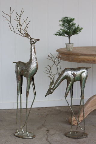Kalalou Set of 2 Antique Silver Metal Deer