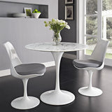 "Modway Lippa 36"" Round Faux Marble Dining Table in White"