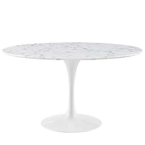 "Modway Lippa 54"" Round Faux Marble Dining Table in White"