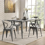 Modway Alacrity Rectangle Metal Dining Table in Gunmetal