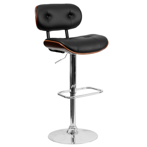 Flash Furniture Walnut Bentwood Adjustable Height Bar Stool with Button Tufted Black Vinyl Upholstery - Bar Stool Co.