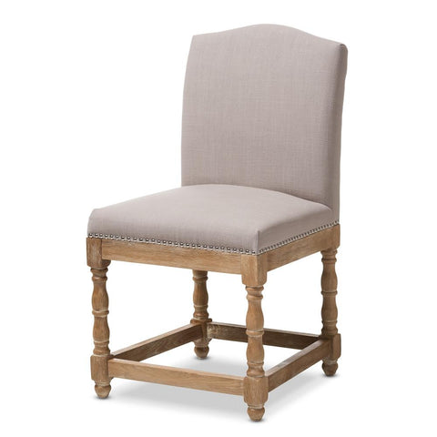 Baxton Studio Paige Dining Chair, Weathered Oak and Beige - Bar Stool Co.