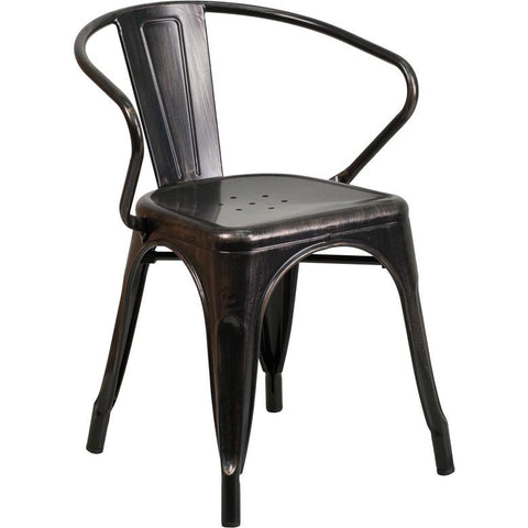 Flash Furniture Industrial Indoor - Outdoor Metal Dining Chair with Arms - Bar Stool Co.