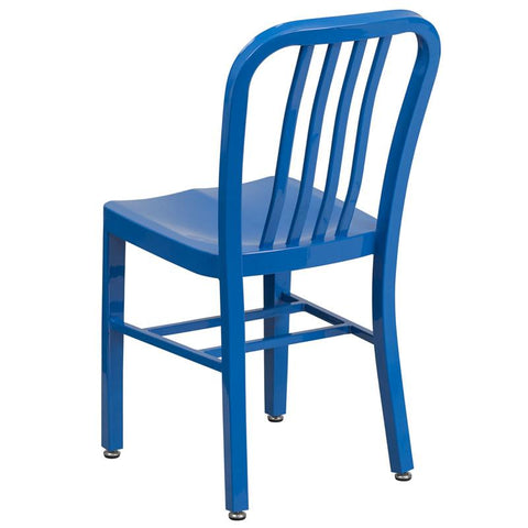 Blue Metal Dining Chairs flash furniture industrial indoor - outdoor metal dining chair