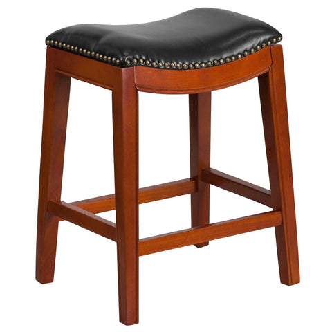 26 Backless Wood Counter Stool With Leather Seat Bar Stool Co