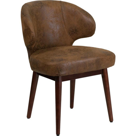 Flash Furniture Comfort Back Series Bomber Jacket Microfiber Chair with Walnut Legs - Bar Stool Co.